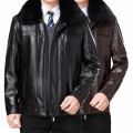 leather clothing Others Business gentleman 1316-1 deep coffee fox hair collar, 1316-1 red brown fox hair collar 170/M,175/L,180/XL,185/XXL,190/XXXL,195/4XL routine Leather clothes Lapel Straight cylinder zipper winter leisure time middle age Sheepskin Business Casual 1316-1 Cloth hem Side seam pocket