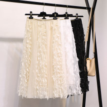 skirt Autumn of 2018 Average size Mid length dress Sweet High waist A-line skirt Solid color Type A 18-24 years old solar system