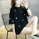 T-shirt White, black M,L,XL,2XL Summer 2021 Short sleeve Crew neck easy Medium length routine commute cotton 96% and above 18-24 years old Korean version originality Cartoon animation Embroidery