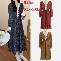 Women's large Spring 2021 Ginger, dark blue, red Large XL, large XXL, large XXL, large XXXXL, large XXXXL Dress singleton  Sweet Self cultivation moderate Socket Long sleeves Plants and flowers V-neck Medium length polyester fiber printing and dyeing routine longuette Three buttons Mori