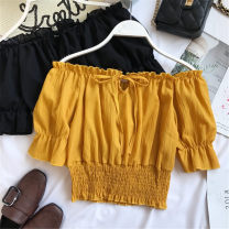 Lace / Chiffon Summer of 2019 Red, white, yellow, black Average size Short sleeve street Socket singleton  Super short One word collar Solid color 18-24 years old Europe and America