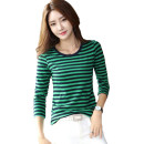 T-shirt Green, white, khaki S,M,L,XL,2XL,3XL,4XL,5XL Autumn 2020 Long sleeves Crew neck Self cultivation routine commute cotton 96% and above 18-24 years old Korean version classic Thin horizontal stripe