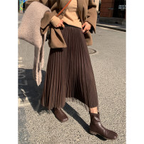 skirt Winter 2020 M, L Grey, brown, black Mid length dress commute High waist Pleated skirt Solid color Type A 18-24 years old More than 95% other Other / other polyester fiber Gauze Korean version