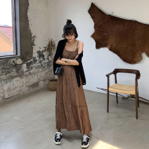 Dress Autumn of 2019 Brown M, L longuette singleton  Sleeveless commute Loose waist Solid color Socket Big swing other camisole 18-24 years old Type A Other / other Korean version fold 71% (inclusive) - 80% (inclusive) other