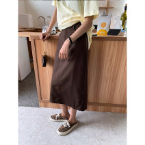 skirt Spring 2021 S,M,L Brown, dark grey Mid length dress commute High waist Suit skirt Solid color Type H 18-24 years old ds19883 More than 95% other Other / other polyester fiber Pocket, button, zipper Korean version