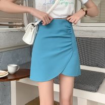 skirt Summer 2021 S,M,L White, blue, black, pink Short skirt commute High waist Irregular Solid color Type A 18-24 years old 91% (inclusive) - 95% (inclusive) other polyester fiber fold Korean version