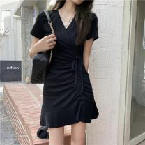 Dress Summer 2021 black Average size Short skirt singleton  Short sleeve commute V-neck High waist Solid color Socket Ruffle Skirt other 18-24 years old Type A Korean version