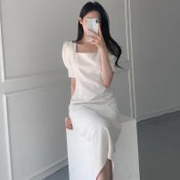Dress Spring 2021 Light blue, white S,M,L Mid length dress singleton  Short sleeve commute square neck High waist Solid color puff sleeve Breast wrapping 18-24 years old Type H Retro Chiffon cotton