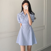 Dress Summer 2021 Blue, Navy S,M,L Middle-skirt singleton  Short sleeve commute Polo collar High waist stripe other A-line skirt shirt sleeve Others 18-24 years old Type A literature Bowknot, pocket, lace up, stitching, strap, button, zipper 91% (inclusive) - 95% (inclusive) Chiffon hemp