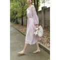 Dress Spring 2021 Red, pink M, L longuette singleton  Long sleeves Sweet Y0844 More than 95% hemp