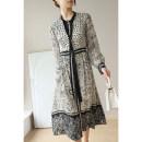 Dress Spring 2021 Beige M,L,XL,2XL longuette Long sleeves commute Elastic waist Simplicity K1552 91% (inclusive) - 95% (inclusive) silk