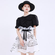 skirt Summer 2020 S,M,L Picture color Short skirt street High waist A-line skirt Decor Type A 18-24 years old 51% (inclusive) - 70% (inclusive) other Other / other polyester fiber Lacing, asymmetric, stitching Europe and America