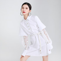 Dress Autumn 2020 White, black Average size Mid length dress singleton  Long sleeves street Polo collar Loose waist Solid color Single breasted Big swing routine Others 25-29 years old Type A Other / other Panel, button, mesh 51% (inclusive) - 70% (inclusive) Lace cotton Europe and America