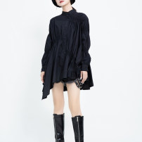 shirt White, black Average size Autumn 2020 cotton 30% and below Long sleeves Versatile Regular stand collar Single row multi button pagoda sleeve other 25-29 years old Self cultivation Other / other Fold, asymmetric viscose