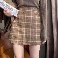 skirt Autumn 2020 S,M,L,XL Khaki, dark grey, dirty yellow Short skirt commute High waist A-line skirt lattice Type A 18-24 years old DQ169# 91% (inclusive) - 95% (inclusive) Wool polyester fiber zipper Korean version 201g / m ^ 2 (including) - 250G / m ^ 2 (including)