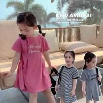Dress Prune powder, neutral grey, black and white stripe female Maimaiqiu 80, 90, 100, model, 110, 120, 130, 140, 150 Cotton 95% other 5% summer Korean version Short sleeve letter cotton A-line skirt XB3230 2, 3, 4, 5, 6, 7, 8, 9, 10 years old Chinese Mainland Guangdong Province Dongguan City