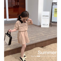 Dress Mocha, mocha advance payment female Maimaiqiu 80, 90, 100, model, 110, 120, 130, 140, 150 Cotton 95% other 5% summer Korean version Short sleeve Solid color cotton A-line skirt XA3200 Class B 2, 3, 4, 5, 6, 7, 8, 9, 10 years old Chinese Mainland Guangdong Province Dongguan City