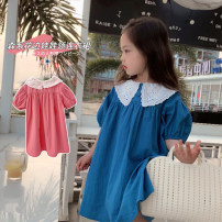 Dress Sapphire blue, grapefruit powder female Maimaiqiu 80, 90, 100, model, 110, 120, 130, 140, 150 Cotton 95% other 5% summer fresh Short sleeve Solid color cotton A-line skirt XA3406 Class B 2, 3, 4, 5, 6, 7, 8, 9, 10 years old Chinese Mainland Guangdong Province Dongguan City