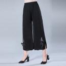 Casual pants Summer of 2019 Ninth pants Wide leg pants High waist Thin money Polyester 95% polyurethane elastic fiber (spandex) 5% Pure e-commerce (online only)
