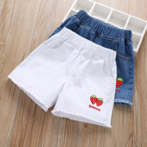 trousers Grandma tree female 100cm,110cm,120cm,130cm,140cm,150cm,160cm Two strawberries blue, two strawberries white, twin rose blue, twin rose white, water drop love blue, water drop love white, happy letter blue, happy letter white, embroidered bow blue, embroidered BOW White summer shorts cotton