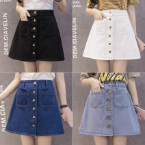 skirt Spring of 2019 S,M,L,XL,2XL Short skirt Versatile High waist A-line skirt Solid color Type A 18-24 years old Other / other Button