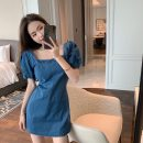 Dress Summer 2021 Picture color S,M,L Short skirt singleton  Short sleeve commute square neck High waist Solid color Socket puff sleeve 18-24 years old Korean version 31% (inclusive) - 50% (inclusive) Denim cotton