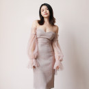 Dress Summer of 2019 Pink XS,S,M,L Middle-skirt singleton  Sweet One word collar High waist puff sleeve 18-24 years old D384