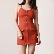 Dress Autumn of 2018 S,M,L Short skirt singleton  Sleeveless V-neck High waist camisole 18-24 years old Type H D448 polyester fiber