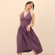 Dress Summer 2020 S,M,L,XL longuette singleton  Sleeveless commute V-neck High waist Solid color Socket A-line skirt camisole 25-29 years old Type A D726 polyester fiber