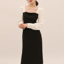 Dress Spring 2021 black and white S,M,L longuette singleton  Long sleeves commute square neck High waist Solid color Socket One pace skirt routine 25-29 years old Type X Ol style Splicing D872 More than 95% polyester fiber