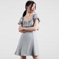 Dress Summer of 2019 Light blue, pink S,M,L Short skirt singleton  Short sleeve commute square neck High waist Solid color A-line skirt 18-24 years old Korean version D572 91% (inclusive) - 95% (inclusive) polyester fiber