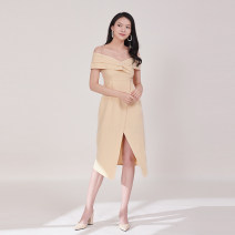 Dress Summer of 2019 Apricot, pink, orange S,M,L Middle-skirt singleton  commute One word collar High waist Solid color Irregular skirt D672 polyester fiber