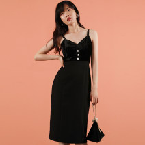 Dress Summer of 2019 black S,M,L Middle-skirt singleton  Sleeveless commute V-neck High waist Solid color Single breasted One pace skirt camisole 25-29 years old Korean version polyester fiber