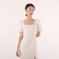 Dress / evening wear Wedding, adulthood, party, company annual meeting, performance, routine, appointment S,M,L white Simplicity Medium length High waist Spring 2021 Self cultivation square neck polyester fiber 18-25 years old D933 Short sleeve Solid color puff sleeve