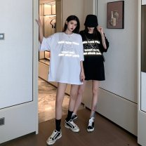 T-shirt White, black M,L,XL,2XL Summer 2021 Short sleeve Crew neck easy Medium length routine commute cotton 30% and below 18-24 years old Korean version originality Geometric patterns, letters Print, shine