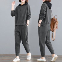 Women's large Autumn 2020 Green suit [high quality fabric], black suit [high quality fabric], gray suit [high quality fabric] Large L, large XL, 2XL, 3XL, 4XL moderate Long sleeves Hood routine polyester fiber 25-29 years old 91% (inclusive) - 95% (inclusive) trousers