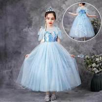 Dress Blue skirt, set one, set two, set three, set four, set five, set six, set seven female Other / other 100cm,110cm,120cm,130cm,140cm,150cm Cotton 80% other 20% summer princess Short sleeve Solid color cotton A-line skirt Class B Chinese Mainland Guangdong Province Foshan City