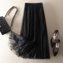 skirt Summer 2021 S,M,L black Mid length dress street High waist Pleated skirt Type A More than 95% polyester fiber Mesh, stitching Europe and America