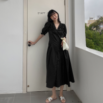 Dress Summer 2021 black One, two, three, four longuette singleton  Short sleeve commute V-neck High waist Solid color zipper A-line skirt puff sleeve Type A Korean version Pleat, fungus, pocket, stitching, zipper, elastic S01175 51% (inclusive) - 70% (inclusive) cotton