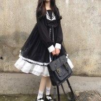 Dress Autumn 2020 Average size Middle-skirt singleton  Sweet V-neck Type A Sprout up Lolita