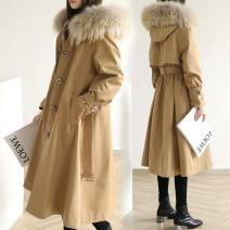Women's large Winter 2020, autumn 2020 Khaki, black L [110-130 Jin], XL [130-150 Jin], XXL [150-170 Jin], 3x [170-190 Jin], 4x [190-210 Jin], large size 5x [210-230 Jin] cotton-padded clothes singleton  commute easy thickening Cardigan Long sleeves Solid color Korean version Hood Medium length zipper