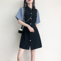 Women's large Summer 2021 Blue, Khaki Large XL, large L, s, M singleton  commute moderate Cardigan Short sleeve Solid color Korean version Polo collar routine routine ak22 MAJE BRIAN 81% (inclusive) - 90% (inclusive) Short skirt shorts