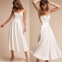 Wedding dress Spring of 2018 white S. M, l, tailored fashion Skirt hem zipper Outdoor Lawn  Sling type satin Three dimensional cutting middle-waisted 25-35 years old Sleeveless shawl 51% (inclusive) - 70% (inclusive) cotton