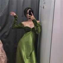 Dress Autumn of 2019 Green suspender skirt, suspender skirt + coat, velvet coat, taro purple suspender skirt, pink suspender skirt XS,S,M longuette singleton  Sleeveless commute High waist camisole Type A Retro Silk and satin