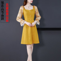 Dress Spring 2021 yellow S,M,L,XL,2XL Middle-skirt singleton  Long sleeves commute One word collar middle-waisted Solid color zipper A-line skirt pagoda sleeve Type A lady Auricularia auricula, button, zipper, lace, printing