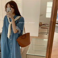 Dress Summer 2021 Denim skirt with Cape Average size Mid length dress singleton  Short sleeve commute Others 18-24 years old Other / other