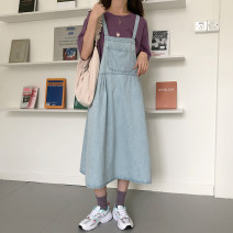 Dress Spring 2021 blue M, L longuette singleton  Sleeveless commute High waist Socket A-line skirt camisole 18-24 years old Type A Other / other Korean version 81% (inclusive) - 90% (inclusive) Denim