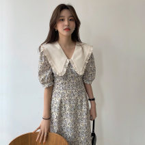 Dress Summer 2021 Graph color Average size longuette singleton  Short sleeve commute V-neck High waist routine Others 18-24 years old Type X Other / other Korean version