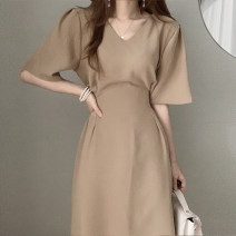 Dress Summer 2021 Khaki, apricot S,M,L Mid length dress singleton  Short sleeve commute V-neck High waist Solid color routine Others 18-24 years old Type X Other / other