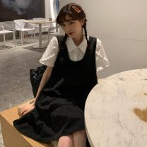 Dress Spring 2021 White shirt, black skirt Average size Middle-skirt Two piece set commute Crew neck High waist Socket A-line skirt routine Others 18-24 years old Type A Korean version Splicing